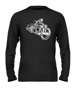 Мужской Лонгслив Скелет на мотоцикле