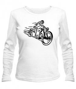 Женский лонгслив Скелет на мотоцикле
