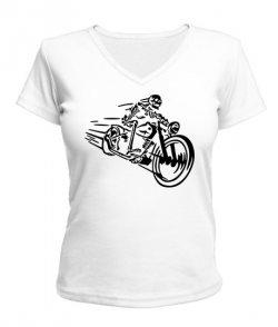 Женская футболка с V-образным вырезом Скелет на мотоцикле