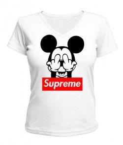 Женская футболка с V-образным вырезом SUPREME