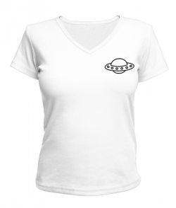 Женская футболка с V-образным вырезом UFO