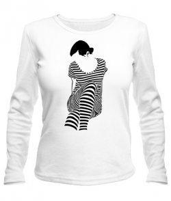 Женский лонгслив Девушка Зебра (Zebra)