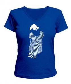 Женская футболка с V-образным вырезом Девушка Зебра (Zebra)