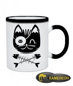 Чашка хамелеон Кот Пират