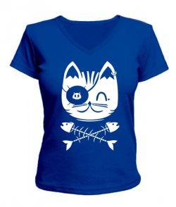 Женская футболка с V-образным вырезом Кот Пират