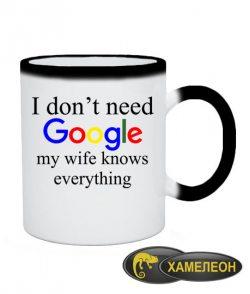 Чашка хамелеон I don't need google 2