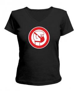 Женская футболка с V-образным вырезом Стоп Вирус
